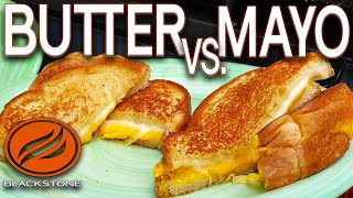 BEST GRILLED CHEESE SANDWICH! MAYO VS BUTTER - WHICH IS BETTER? ON BLACKSTONE GRIDDLE!