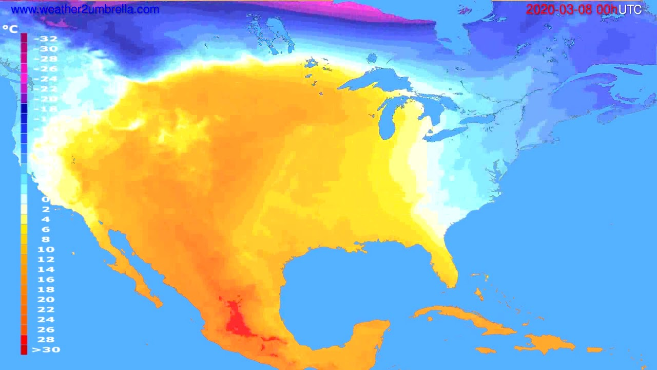 Temperature forecast USA & Canada // modelrun: 00h UTC 2020-03-07