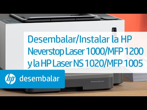 Cómo desembalar e instalar las impresoras de las series HP Neverstop Laser 1000 y multifunción 1200 y HP Laser NS 1020 y multifunción 1005