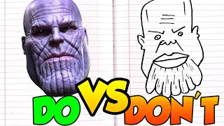 DOs & DON'Ts Drawing Avengers MARVEL Ironman, Hulk, Captain America, Thanos In 1 Minute CHALLENGE!