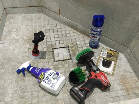 Cleaning Bathroom Shower Tile & Tub with a Power Drill Brush