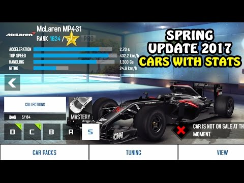 Asphalt 8 - NEW CARS WITH STATS (Spring Update 2017)
