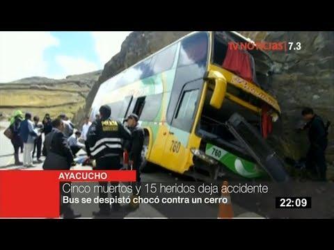 Ayacucho: bus choca contra un cerro y deja 5 muertos y 15 heridos