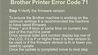 Brother Printer Error Code 71