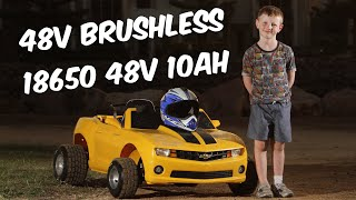 48v 1000w 13s Modified Power wheels Camaro with full suspension. 18650 48v 10ah battery