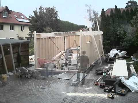 Aufbau Holzgarage Zimmerei Lepski