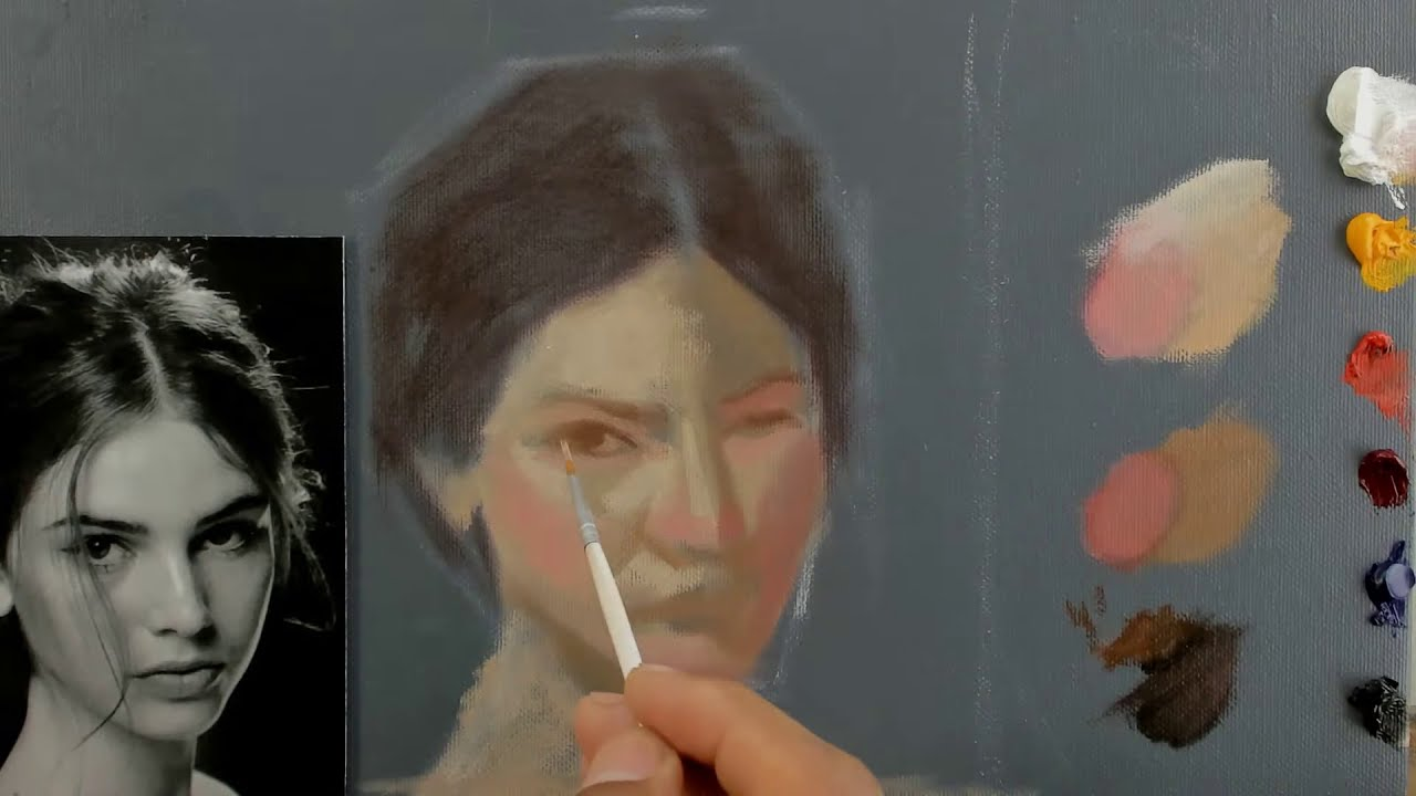 realistic portrait oil painting tutorial video by renso art