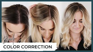 Blonde Hair Color Correction Before and After 😱 How to fix highlighted hair including root shadow