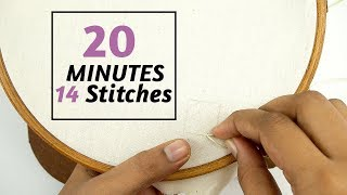 Learn 14 Hand Embroidery Filling Stitches In 20 Minutes | By DIY Stitching