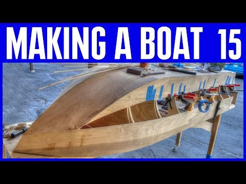 How to Build a Wood Boat #15 Ply Hull and Plywood Strips Hull Making