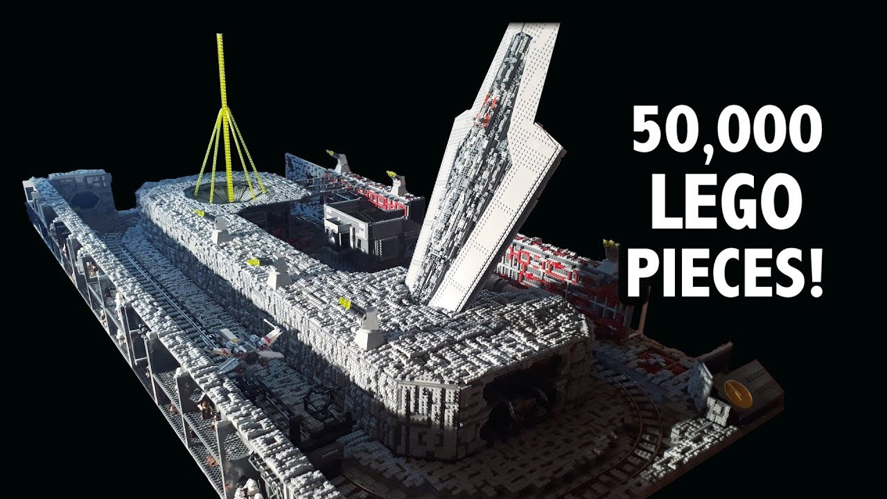 Huge LEGO Death Star Trench Run with Motorized X-Wing Chase!