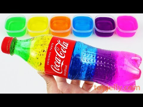 DIY How To Make Rainbow Cola Bottle with Colorful Jelly Slime Toys Learn Colors Baby Songs for Kids