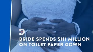 Meet the lady who spent sh1,000,000 on wedding dress made out of toilet paper