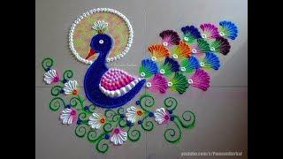 Peacock rangoli using bangles   Easy rangoli designs by Poonam Borkar
