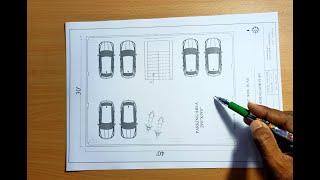 30X40 Apartment House Plan Ground Floor Parking & First Floor 1Bhk 2 Portion