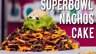 Best Superbowl Snack: A FULLY LOADED Nachos CAKE! With Cinnamon tortilla chips, chocolate and icing!