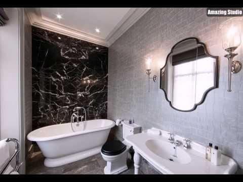 Luxe Silber Tapete in der Schwarzweiß Badezimmer