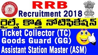 RRB Railway Ticket Collector TC Goods Guard ASM jobs notification Recruitment 2018 Complete details
