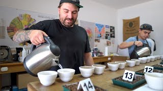 Washing Your Hands With Coffee?! Fred Lullfitz Cupping Hack | Real Chris Baca