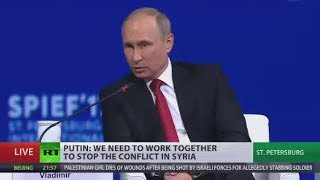 Putin: We don't protect Assad, we protect Syria from becoming Libya - Video Youtube