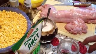 Рецепт приготовления горохового пюре  с мясом кролика в автоклаве