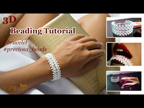 Beaded Bracelet. White. Preciosa Beads. 3D Beading Tutorial