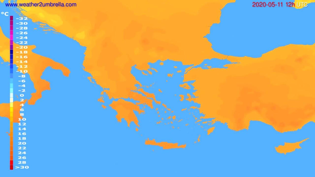 Temperature forecast Greece // modelrun: 00h UTC 2020-05-11