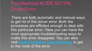 Steps to Fix Acer S211HL Driver Error