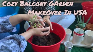 How To Start A Beautiful Garden In Your Apartment Balcony? Rented Apartment Balcony MakeOver In USA!