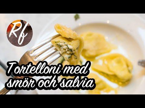 Färska hemmagjorda tortelloni vända i smör och färsk salvia. Fyllda med ricotta-ost, parmesan och persilja. Klassisk italiensk husmanskost från Emilia-Romagna.>