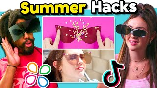 Adults React To And Try Summer Hacks | Do They Work? (5 Minute Crafts, Troom Troom, TikTok)