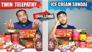 TWIN TELEPATHY ICE CREAM SUNDAE CHALLENGE | Ice Cream Eating Competition | Food Challenge