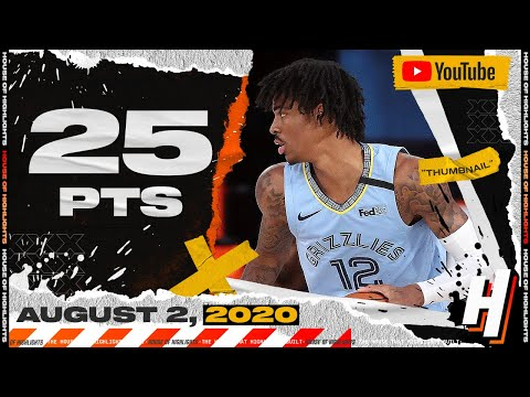 Ja Morant 25 Points 9 Ast 9 Reb Full Highlights | Spurs vs Grizzlies | August 2, 2020