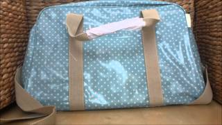 preview picture of video 'Dotty Duck Egg Blue Polka Dot Oilcloth Weekender Travel Bag'