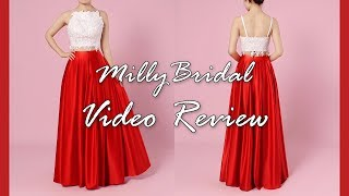 Prom Dresses | Modest Long Red Ball Gown Satin Lace Two Piece Dress - MillyBridal Video Review