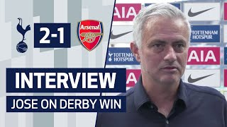 Jose Mourinho reacts to our 2-1 win against Arsenal in the North London Derby.