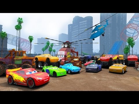 Cars 3 Colors Jackson Storm Lightning McQueen 8X8 Monster Cruz Ramirez Truck Tow Mater Mack Dinoco