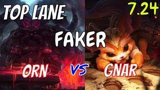 FAKER Orn Vs Gnar Top Stream Gameplay Season 8