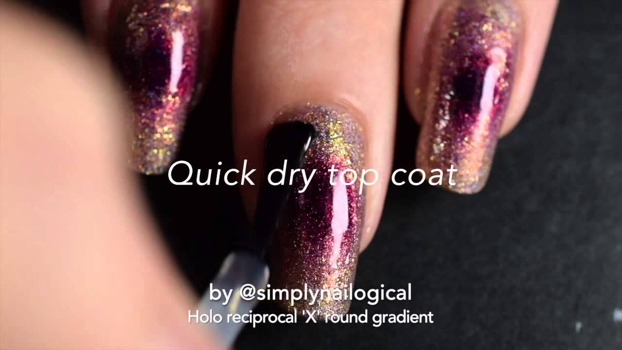 Fall-toned holo reciprocal X round gradient nail art thumbnail
