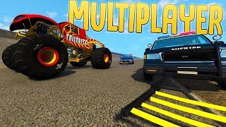 High-speed Police Chases & Stunts - BeamNG Online Multiplayer!? - BeamNG Drive Gameplay