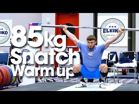 85kg Warm Up Area Snatches with Okulov Apti Aukhadov Tian Tao 2015 World Weightlifting Championships