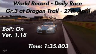 WORLD RECORD   Gran Turismo Sport   Daily Race at Dragon Trail (Gr.3) - 1:35.803