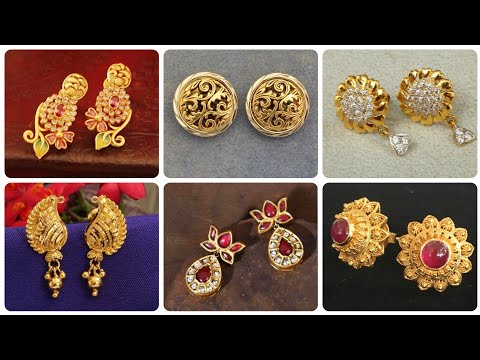 Outstanding Latest Designs Of Gold Stud Earrings With Ruby Stone And Diamond