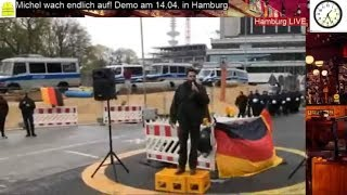 """Hendrik Stöckel  Bei Hamburg Demo """"Michel, Wach Endlich Auf"""" S. Reineck, J. Salomon, M.Stürzenberger"""