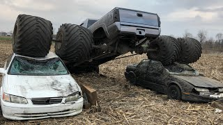 Worlds biggest dually crushes cars on SPAGHETTI AXLES