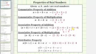 Identify the Commutative, Associate, and Distributive Properties of Real Numbers