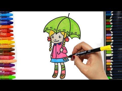 Wie zeichnet man das Mädchen mit Regenschirm | Zeichnen und Ausmalen für Kinder