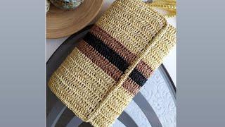 Kağıt Ip Ile Clutch çanta Yapımı-2 / Kolay örgü çanta / Handmade Bag / Knit