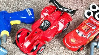 Car Factory Toys Unboxing mobile center Sport Car and Lightning McQueen