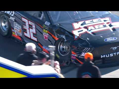 Corey LaJoie slams the wall during Martinsville practice